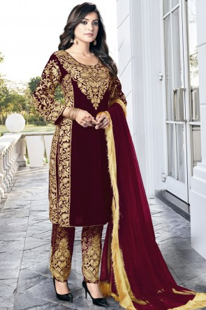 Maroon Embroidered Lace Work Velvet Fabric Salwar Suit With Dupatta