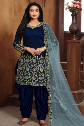 Art Silk Blue Embroidered Lace Work Work Designer Patiala Suit With Dupatta