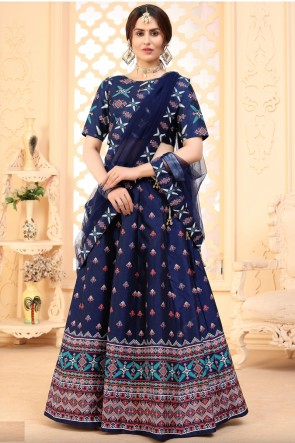 Designer Navy Blue Art Silk Fabric Lehenga Choli With Dupatta