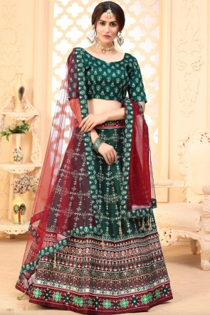 Green Art Silk Fabric Designer Lehenga Choli With Dupatta