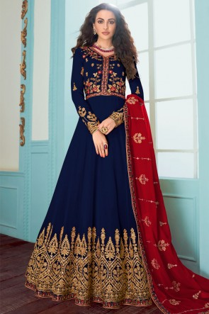 Blue Fuax Georgette Embroidered Abaya Style Anarkali Suit With Georgette Dupatta