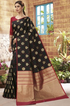 Silk Black Weaving Jacqard Work Designer Saree With Blouse