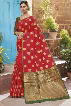 Weaving Jacqard Work Red Silk Saree With Blouse