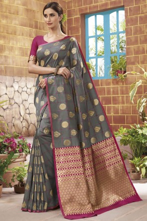 Silk Weaving Jacqard Work Designer Grey Saree With Blouse