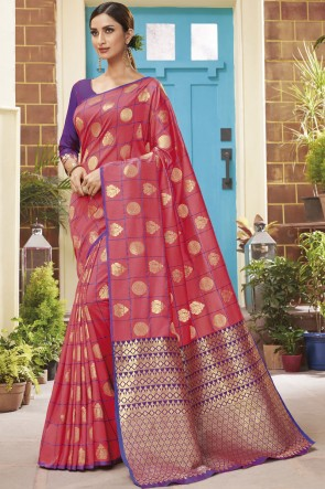 Pink Silk Weaving Jacqard Work Saree With Blouse