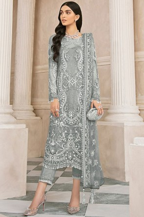 Embroidered Stone Work Net Fabric Grey Plazzo Suit With   Dupatta