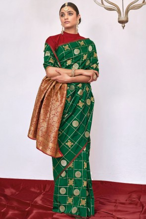 Weaving With Jacqaurd Work Green Weaving Silk Fabric Saree With Blouse