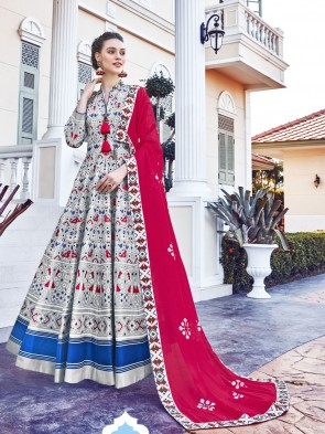 Digital Printed Silk Fabric Grey Anarkali Suit With   Dupatta