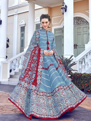 Sky Blue Digital Printed Silk Fabric Anarkali Suit Whit  Dupatta