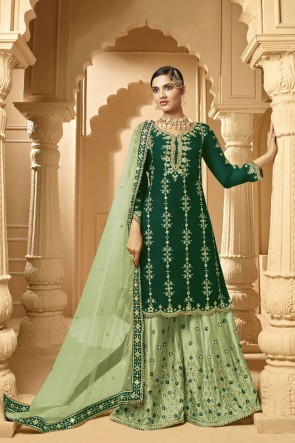 Faux Georgette Embroidery Designer Stunning Green Plazzo Suit With Net Dupatta