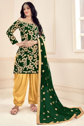Green Embroidered Stone Work Velvet Fabric Patiala Suit Whit Net Dupatta