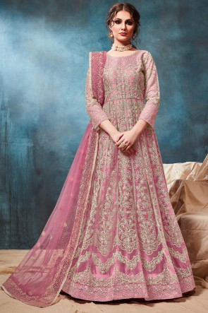 Embroidered Zari Work Pink Net Abaya Style Anarkali Suit With Net Dupatta
