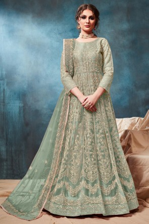 Abaya Style Sea Green Embroidered Zari Work Net Anarkali Suit With Net Dupatta