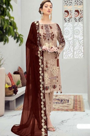 Embroidered Stone Worked Net Beige Pakistani Suit With Net Dupatta