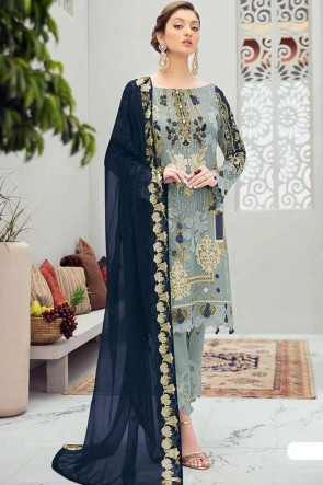 Net Embroidery Stone Work Grey Pakistani Suit With Net Dupatta
