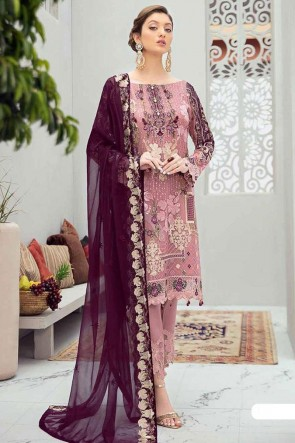 Embroidered Stone Work  Pink Net Fabric Pakistani Suit With Net Dupatta