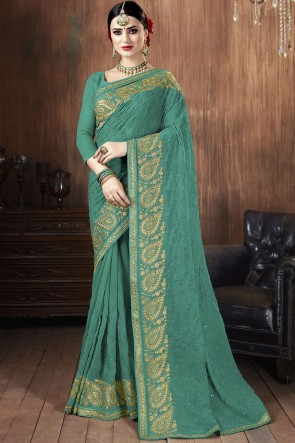 Stunning Green Georgette Fabric Embroidered Stone Work Saree With Blouse