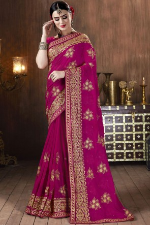 Georgette Fabric Embroidered Stone Work Designer Pink Lovely Saree With Blouse