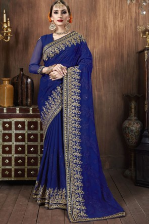 Blue Georgette Fabric Embroidered Stone Work Designer Saree With Blouse