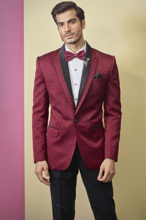 Red Imported Fabric Readymade Mens Suit