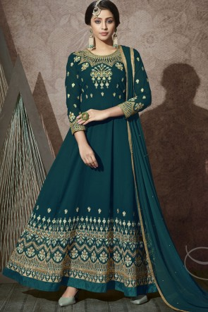 Embroidered Stone Work Blue Georgette Abaya Style Anarkali Suit With Chiffon Dupatta