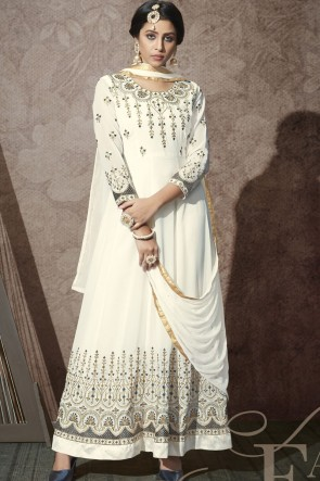 Georgette Embroidered Stone Work White Abaya Style Anarkali Suit With Chiffon Dupatta