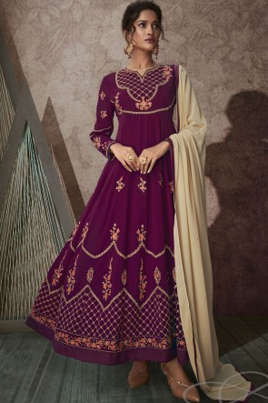 Abaya Style Wine Embroidered Stone Work Georgette Anarkali Suit With Chiffon Dupatta