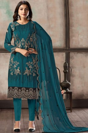 Rama Faux Georgette Embroidered Designer Salwar Suit With Dupatta