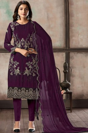 Purple Embroidered Faux Georgette Fabric Salwar Suit With Dupatta