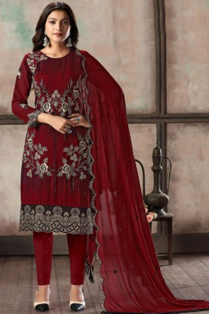 Embroidered Red Faux Georgette Fabric Salwar Kameez With Dupatta