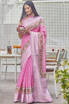 Fancy Fabric Digital Printed Designer Pink Color Saree With Blouse