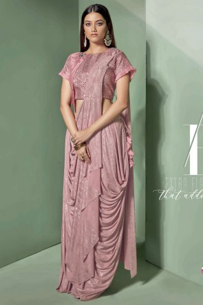 Fancy Fabric Light Pink Embroidered Thread Work Designer Saree With Blouse
