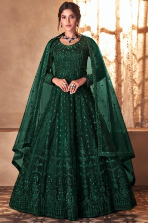 Green Butterfly Net Embroidered Stone Work Abaya Style Anarkali Suit With Butterfly Net Dupatta