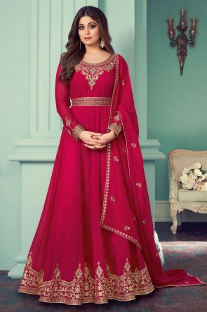 Embroidered Stone Work Pink Georgette Abaya Style Anarkali Suit With Georgette Dupatta