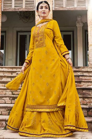 Embroidered Rayon Yellow Plazzo Suit With Chinon Dupatta