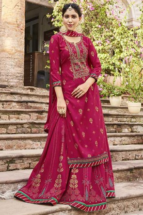 Pink Embroidered Rayon Fabric Plazzo Suit Whit Chinon Dupatta