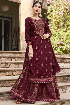 Rayon Embroidered Designer Maroon Plazzo Suit With Chinon Dupatta
