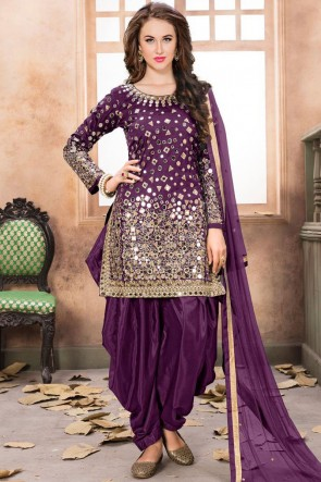 Embroidered Mirror Work Purple Net Fabric Patiala Suit With Net Dupatta
