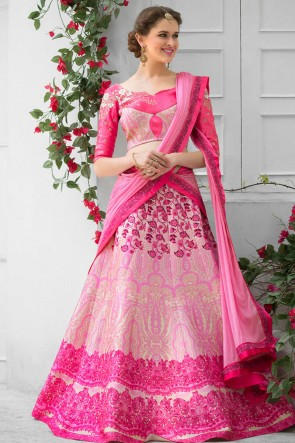 Gorgeous Pink Silk Designer Digital Printed Lehenga Choli With Silk Dupatta