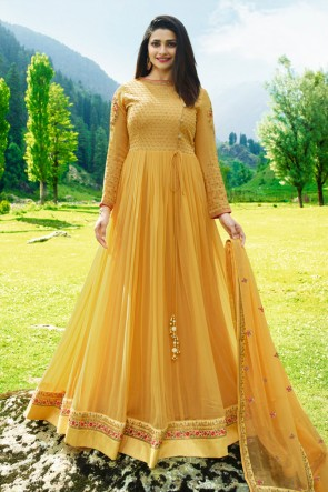 Prachi Desai Beautiful Yellow Georgette Embroidered Anarkali Salwar Suit With Nazmin Dupatta