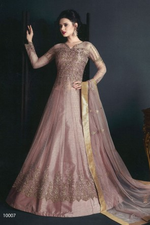 Classic  Pink Net Embroidered Anarkali Salwar Suit With Net Dupatta