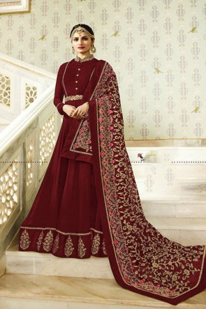 Prachi Desai Charming Maroon Faux Georgette Embroidered Anarkali Salwar Suit With Nazmin Dupatta