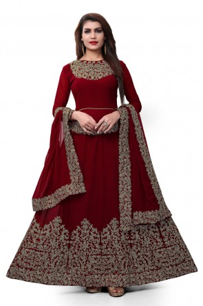 Marvelous Maroon Faux Georgette Embroidered Designer Anarkali Salwar Suit With Nazmin Dupatta
