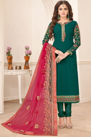 Green Faux Georgette Superb Embroidered Salwar Suit And Dupatta