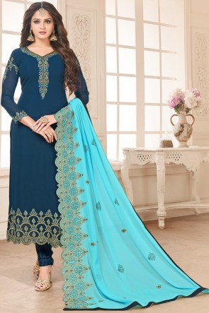 Gorgeous Navy Blue Faux Georgette Embroidered Salwar Kameez And Santoon Bottom
