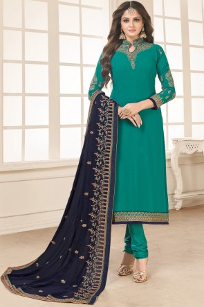Embroidered Rama Churidar Bottom Graceful Salwar Kameez With Faux Georgette Dupatta