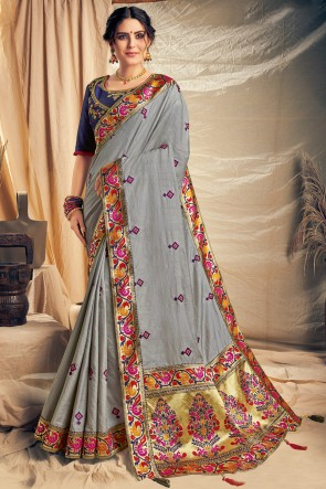Beautiful Grey Thread Work And Embroidered Designer Silk Saree With Embroidered Blouse