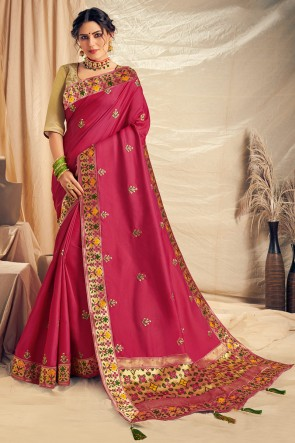 Pretty Thread Work And Embroidered Pink Silk Saree With Embroidered Blouse