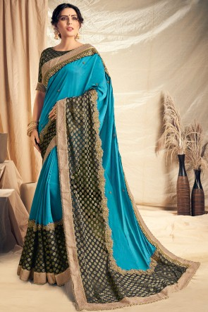Classy Sky Blue Thread Work And Embroidered Silk Saree With Embroidered Blouse