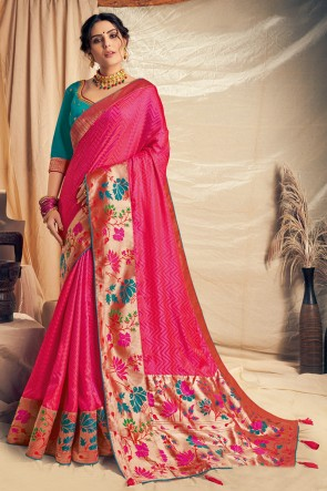 Pink Thread Work And Embroidered Silk Saree With Embroidered Blouse